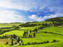 Winding road in the vicinity of Monticello. Tuscany. Italy stock image