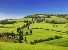 Winding road in the vicinity of Monticello. Tuscany. Italy stock images