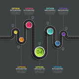 Winding road way location infographic template with a phased structure. Vector EPS 10 Stock Images