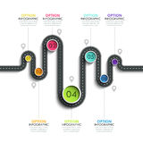 Winding road way location infographic template with a phased structure. Vector EPS 10 Royalty Free Stock Photos