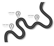 Winding road on a white background. Road trip and Journey route. Business and Journey Infographic Design Template with pin pointer. Winding road on a white Stock Image