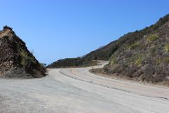 Winding roads along the Pacific Coast Highway. Los Angeles to San Francisco royalty free stock photo