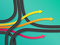 Winding roads on a colorful background. Road trip and Journey route. Business and Journey Infographic. Stylish Serpentine in the form of arrows. Winding roads on Royalty Free Stock Image