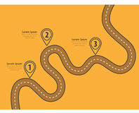 Winding roads on a colorful background. Road way location infographic template with pin pointer. Winding road on a colorful background. Stylish streamers. Modern Stock Image