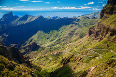 Winding roads and mountains near Masca village Stock Photos