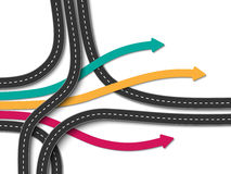 Winding roads on a white background. Road trip and Journey route. Business and Journey Infographic. Stylish Serpentine in the form of arrows. Winding roads on a Royalty Free Stock Photos