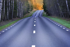 Winding Scandinavian asphalt road Stock Image