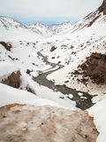 Winding Snowy Valley River Royalty Free Stock Photography