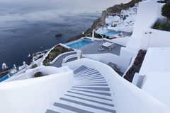 Winding stairs going down to Aegan Sea, Santorini Island -Greece Royalty Free Stock Image