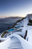 Winding stairs going down to Aegan Sea, Santorini Island -Greece Royalty Free Stock Photo