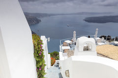 Winding stairs going down to Aegan Sea, Santorini Island, Greece Stock Photography
