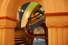 Winding Stairway & Stained Glass Window Royalty Free Stock Photos