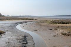 Winding Stream heading to sea in muddy uk estuary stock photography