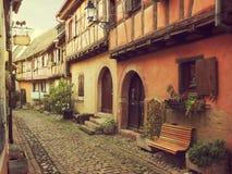 Winding street in Eguisheim. Royalty Free Stock Photos