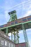 Winding Tower of the Grube Georg in Willroth. WILLROTH, GERMANY - SEP 19, 2014: Winding tower of the Grube Georg, a former ore mine. The mine was closed in 1965 royalty free stock image