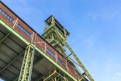 Winding Tower of the Grube Georg in Willroth. WILLROTH, GERMANY - SEP 19, 2014: Winding tower of the Grube Georg, a former ore mine. The mine was closed in 1965 stock image