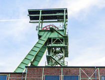 Winding Tower of the Grube Georg in Willroth. WILLROTH, GERMANY - SEP 19, 2014: Winding tower of the Grube Georg, a former ore mine. The mine was closed in 1965 Stock Photography
