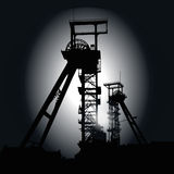 Winding towers at night. Winding towers at the black night  and depression Stock Photography