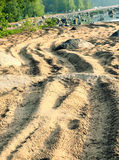 Winding track on the beach. Winding road on the beach Royalty Free Stock Photo