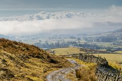 A winding track in the Yorkshire Dales, Northern England. Royalty Free Stock Photo