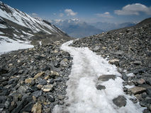 Winding Trail Across Thorong La Pass in Nepal Royalty Free Stock Images
