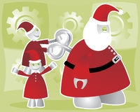 Winding Up Santabot. Shiny, happy robot elves wind-up the worn-out Santabot Royalty Free Illustration