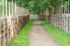 Winding walkway between decorative wooden hedges Stock Photos