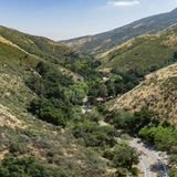Winding Wilderness Road in California Canyon Stock Photos