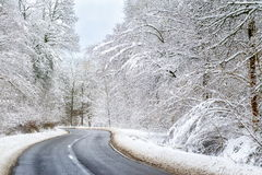 Winding winter road. Asphalt road leading through the frostet snow covered forest royalty free stock images