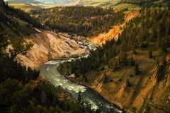 The winding Yellowston river. Stock Image