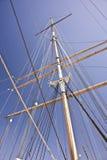 Windjammer帆柱和索具 库存照片