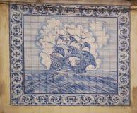 Windjammer Abbildung auf portugiesischen Fliesen Lizenzfreie Stockbilder