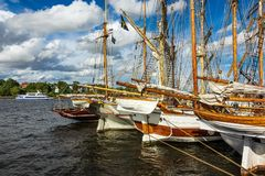 Windjammer on the Hanse Sail in Rostock, Germany.  stock photography