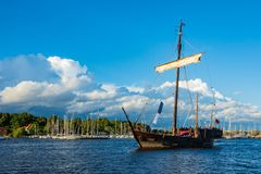 Windjammer on the Hanse Sail in Rostock, Germany.  royalty free stock images