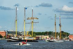 Windjammer on the Hanse Sail in Rostock, Germany.  stock images