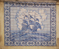 Windjammer picture on portuguese tiles Royalty Free Stock Images