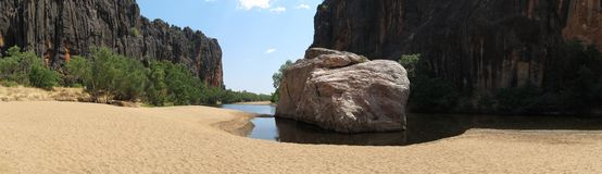 Windjana klyfta, gibbflod, kimberley, västra Australien Arkivfoto