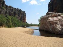 Windjana klyfta, gibbflod, kimberley, västra Australien Arkivfoton