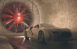 Windkanal-Konzept-Auto Stockbilder