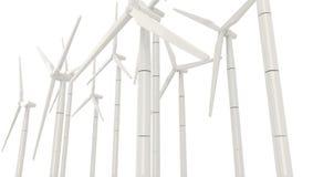 Windkraftanlage 3D für saubere Energie im weißen Hintergrund in Seiten-ANG Lizenzfreie Stockbilder