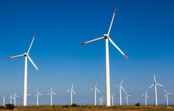Windkraftanlage, erneuerbare Energie Stockfotos
