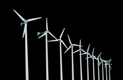 Windkraftanlage für alternative Energie lokalisiert auf schwarzem Hintergrund Lizenzfreies Stockbild