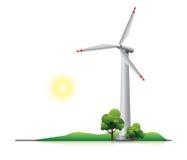 Windkraftanlage mit Bäumen und wenigem Hügel Stockbild