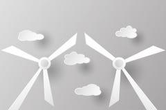 Windkraftanlage mit Wolke im Papierschnittkonzept Lizenzfreies Stockbild