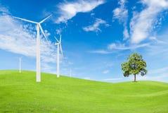 Windkraftanlage und Baum auf grünem Gras mit Hintergrund des blauen Himmels Lizenzfreies Stockfoto