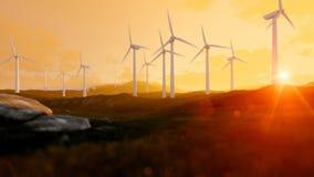 Windkraftanlagebauernhof über grüner Wiese, Strahlen des Lichtes bei Sonnenuntergang stock abbildung