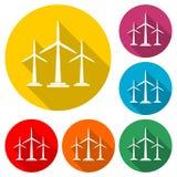 Windkraftanlageikone, eco Konzept, Farbikone mit langem Schatten Stockfotos
