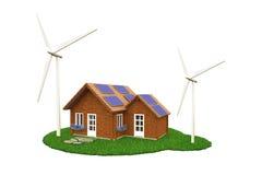 Windkraftanlagen außerhalb des hölzernen Hauses Lizenzfreies Stockfoto