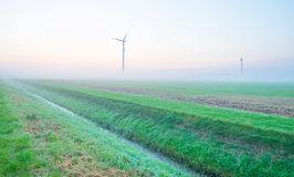 Windkraftanlagen auf einem nebelhaften Gebiet bei Sonnenaufgang Lizenzfreies Stockbild