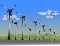 Windkraftanlagen auf einem Windgebiet Stockbild
